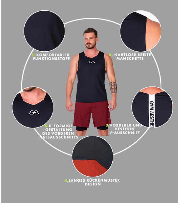 Wesentlich Gym Tank Top für Herren in Sonnenrot | Gym Aesthetics