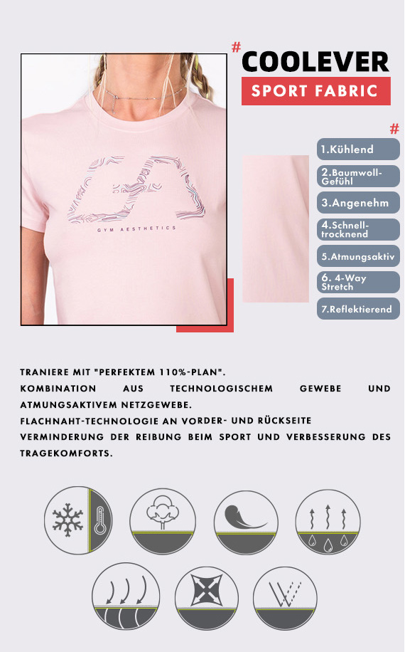 Aktivkleidung Cotton Touch Loose-Fit T-Shirt für Damen in Rosa | Gym Aesthetics