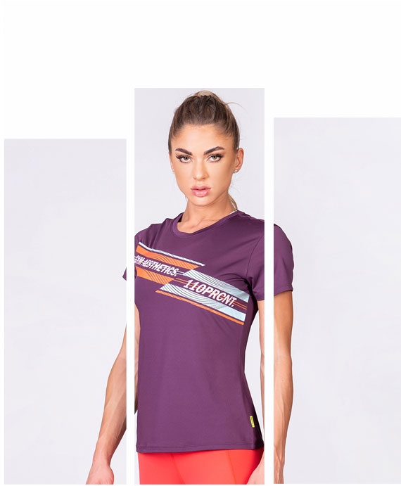 Activewear 110PRCNT Tight-Fit T-Shirt for Women in Purple | Gym Aesthetics
