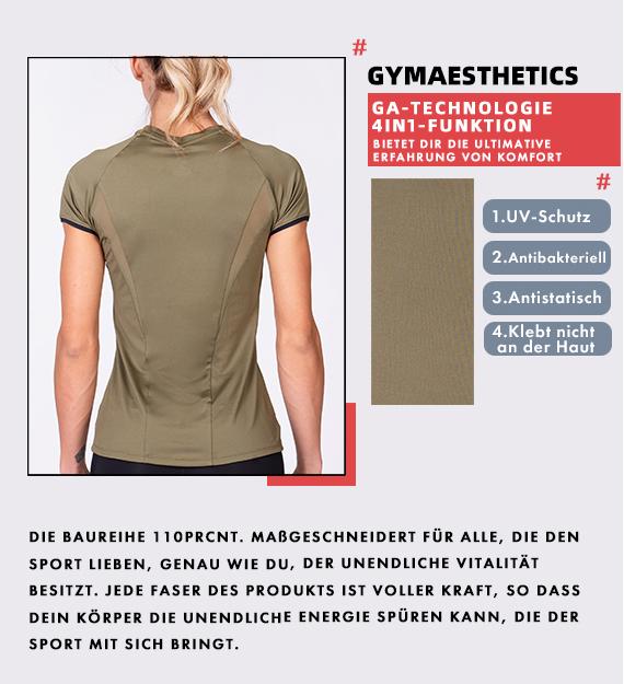 Aktivkleidung Dichte Maschen Sportshirt für Damen in Olive | Gym Aesthetics