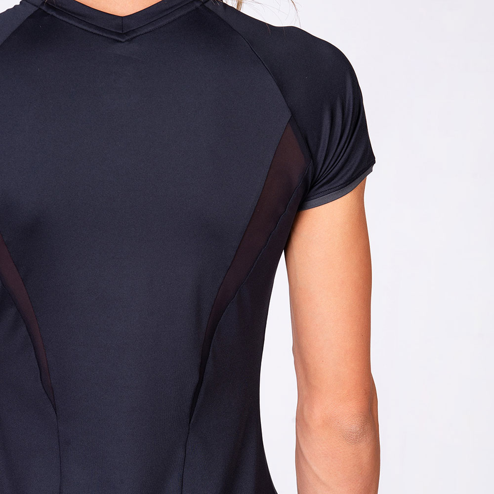Aktivkleidung Dichte Maschen Sportshirt für Damen in Schwarz | Gym Aesthetics