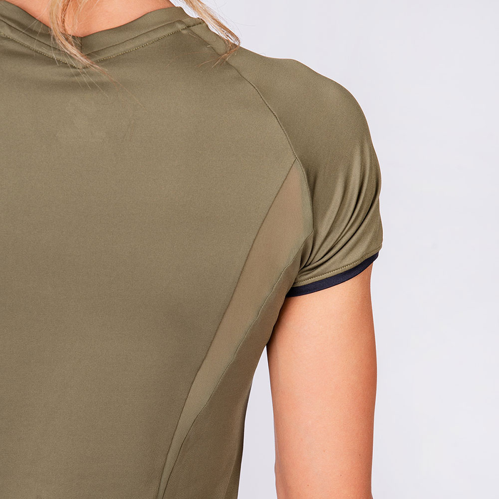 Activewear Mesh Blocking Sport Shirt for Women in Olive   Gym Aesthetics