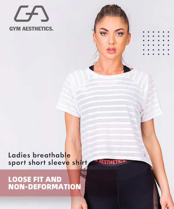 Athleisure Mesh Stripe Fashion T-Shirt for Women in Aqua | Gym Aesthetics