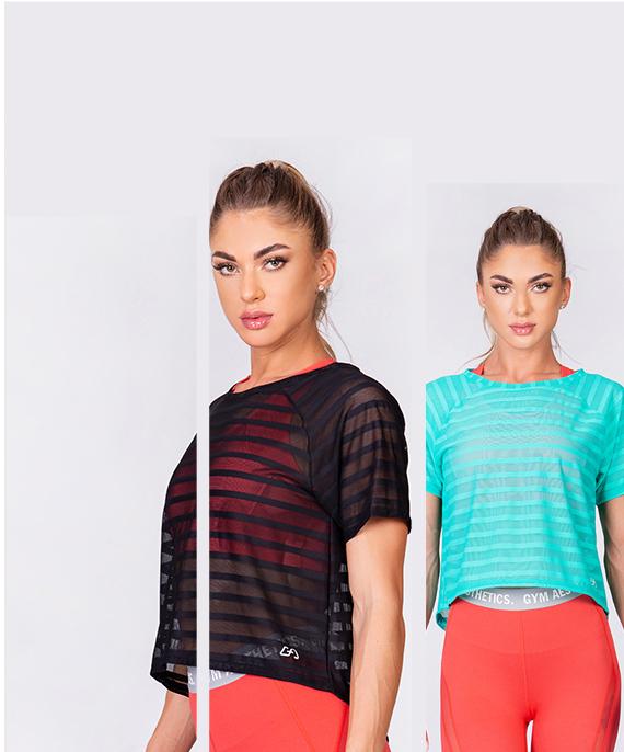 Freizeit Mesh-Streifen Fashion T-Shirt für Damen in Schwarz | Gym Aesthetics