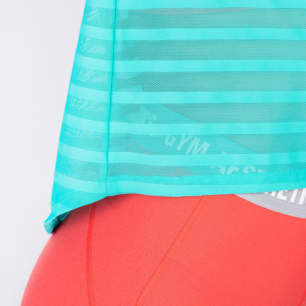 Athleisure Mesh Stripe Fashion T-Shirt for Women in Aqua | Gym Aesthetics