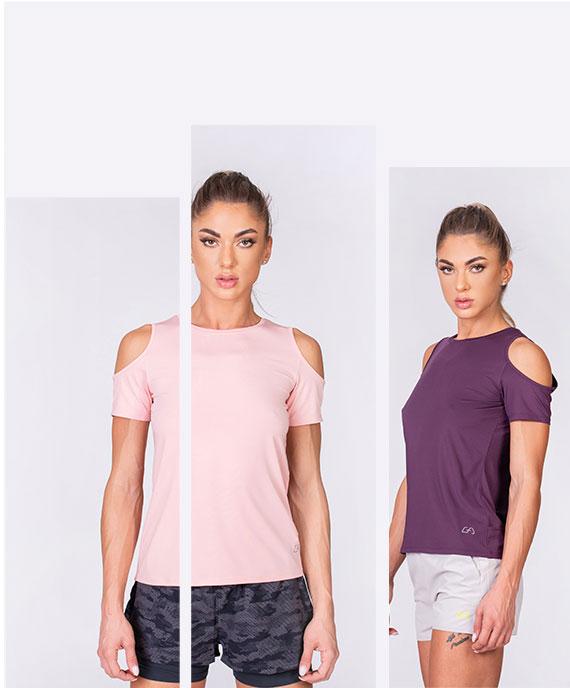 Freizeit Unaufgewärmte Schulter Fashion T-Shirt für Damen in Lila | Gym Aesthetics