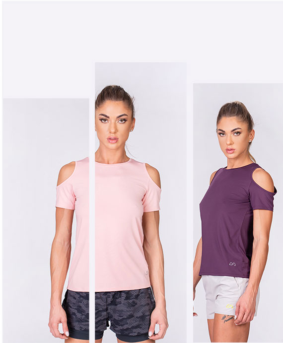 Athleisure Cold shoulder Fashion T-Shirt for Women in Pink | Gym Aesthetics