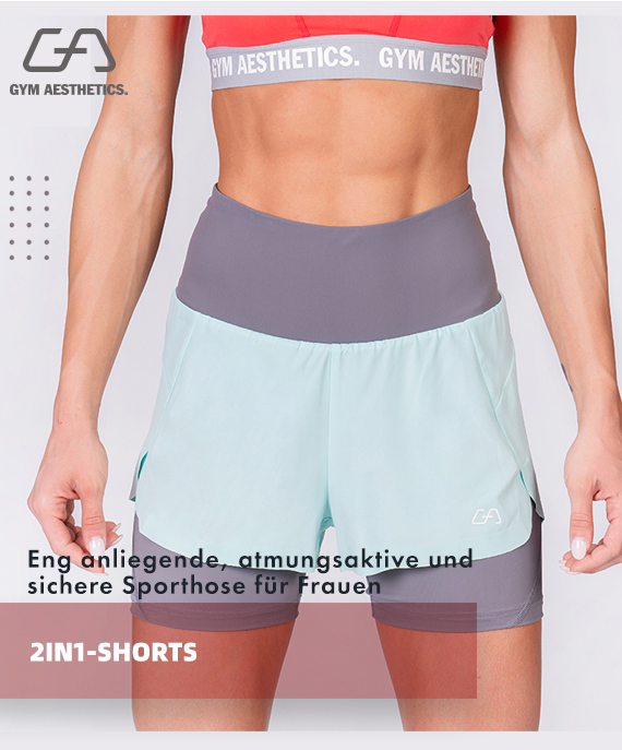 Aktivkleidung 2in1 Farbblock Laufhosen für Damen in Olive | Gym Aesthetics