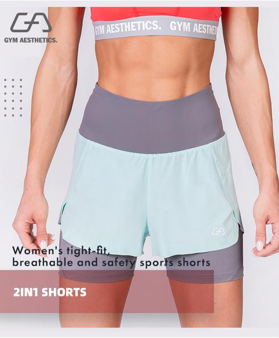 Activewear 2in1 Color Block Running Shorts for Women in Aqua | Gym Aesthetics