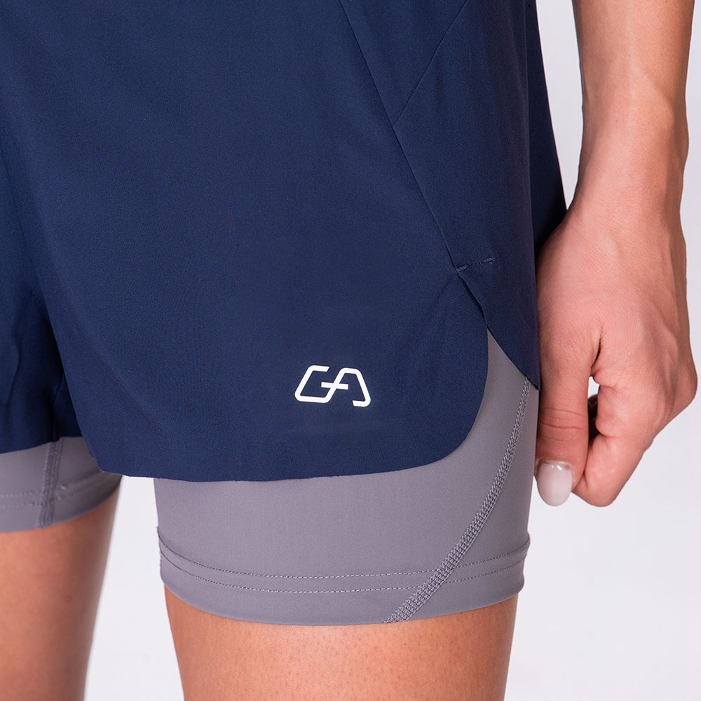 Activewear 2in1 Color Block Running Shorts for Women in Navy | Gym Aesthetics