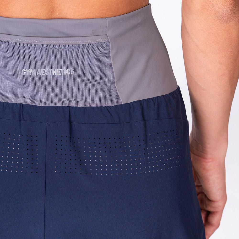 Aktivkleidung 2in1 Farbblock Laufhosen für Damen in Marine | Gym Aesthetics