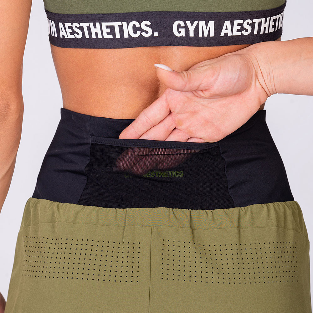 Activewear 2in1 Color Block Running Shorts for Women in Olive | Gym Aesthetics