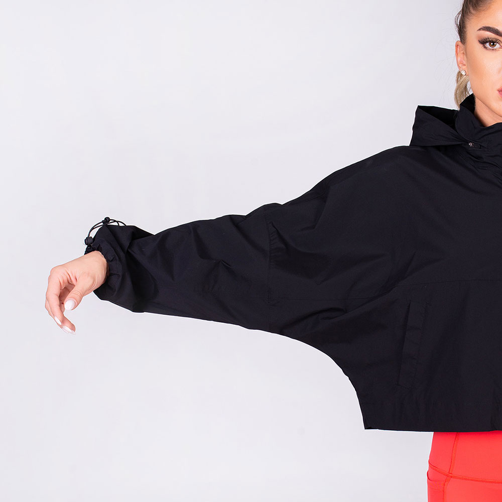 Athleisure Bat Sleeve Jacket for Women in Black | Gym Aesthetics