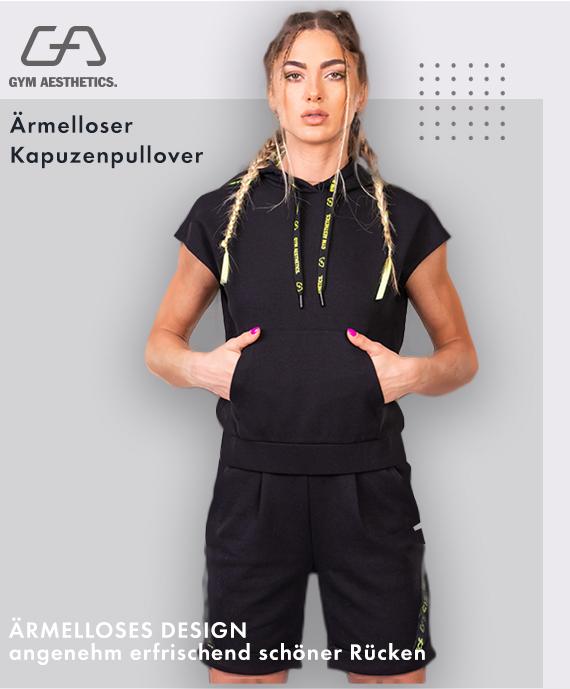 Freizeit Modisch Kapuzenpullover für Damen in Schwarz | Gym Aesthetics
