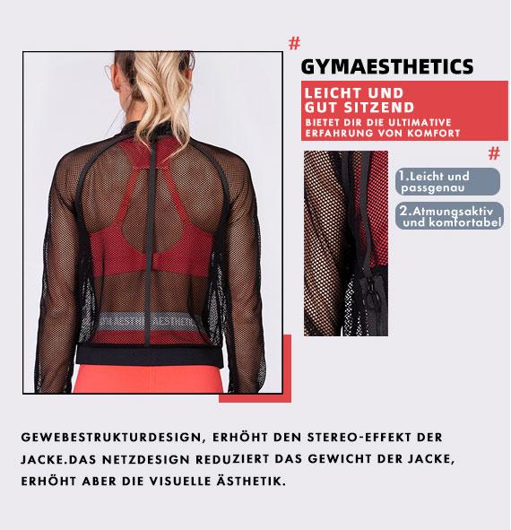Freizeit Bodymesh Jacke für Damen in Weiß | Gym Aesthetics