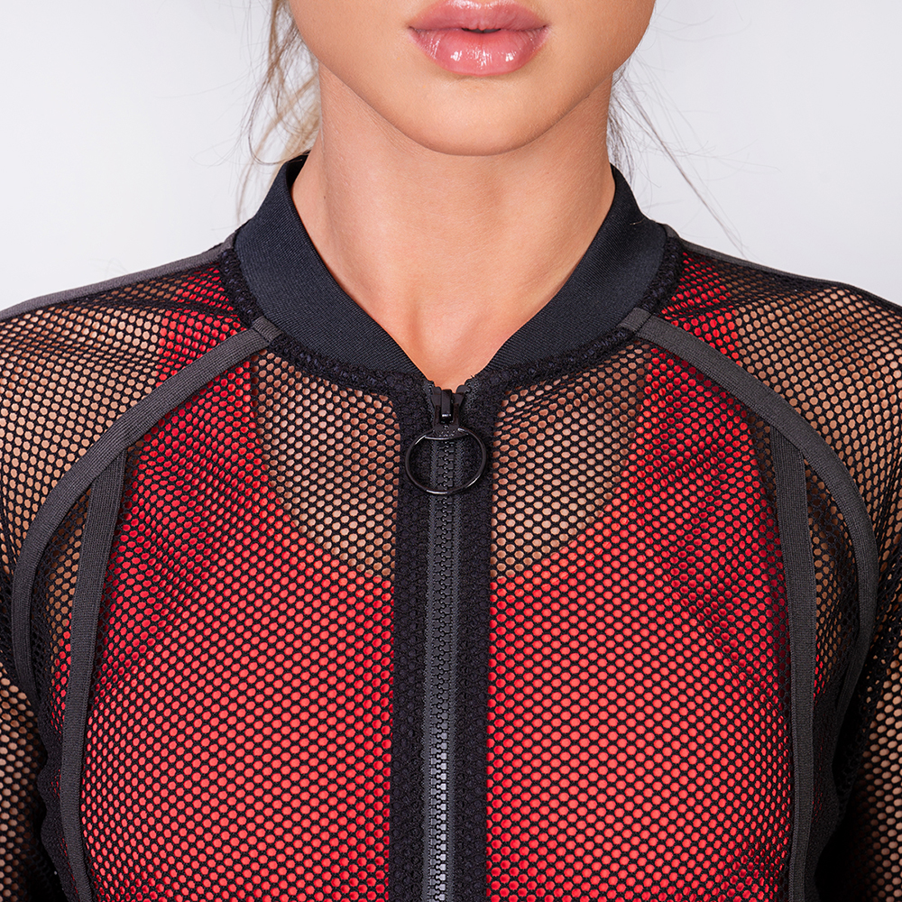 Athleisure Body Mesh Jacket for Women in Black | Gym Aesthetics
