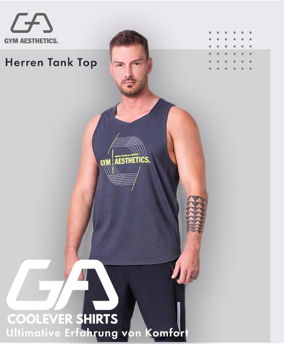 Wesentlich Cotton Touch Gym Stringer für Herren in Sicherheitsgelb | Gym Aesthetics