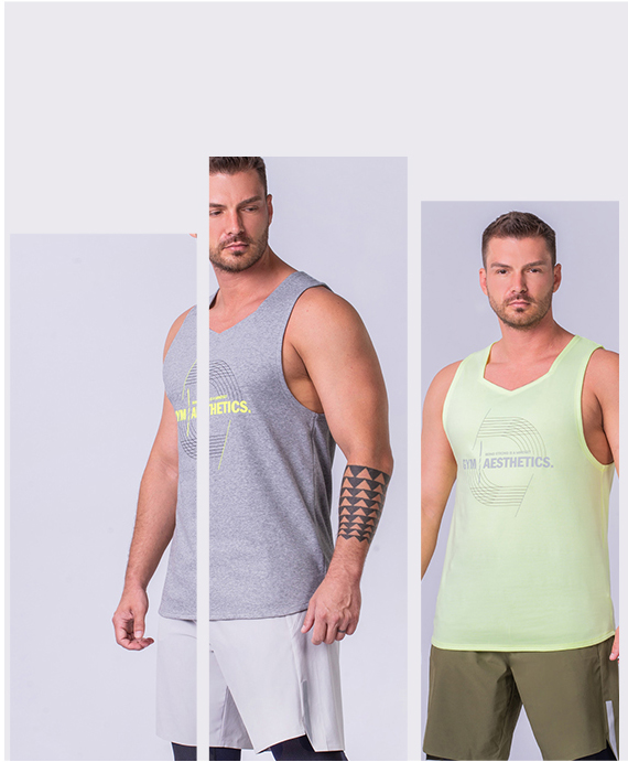 Wesentlich Cotton Touch Gym Stringer für Herren in Holzkohle | Gym Aesthetics