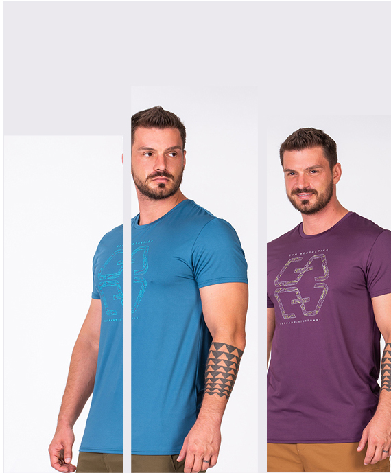 Essential Fancy Logo Loose-Fit T-Shirt for Men in Aqua | Gym Aesthetics