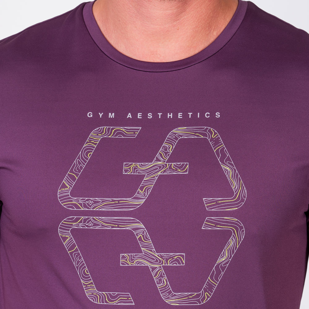 Essential Fancy Logo Loose-Fit T-Shirt for Men in Purple | Gym Aesthetics