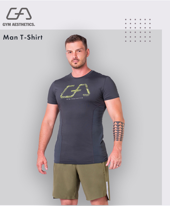 Essential Mesh Blocking Tight-Fit T-Shirt for Men in Charcoal | Gym Aesthetics