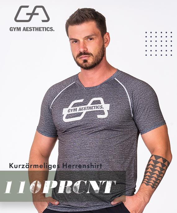 Wesentlich Printed Mesh Loose-Fit T-Shirt für Herren in Melange Aqua | Gym Aesthetics