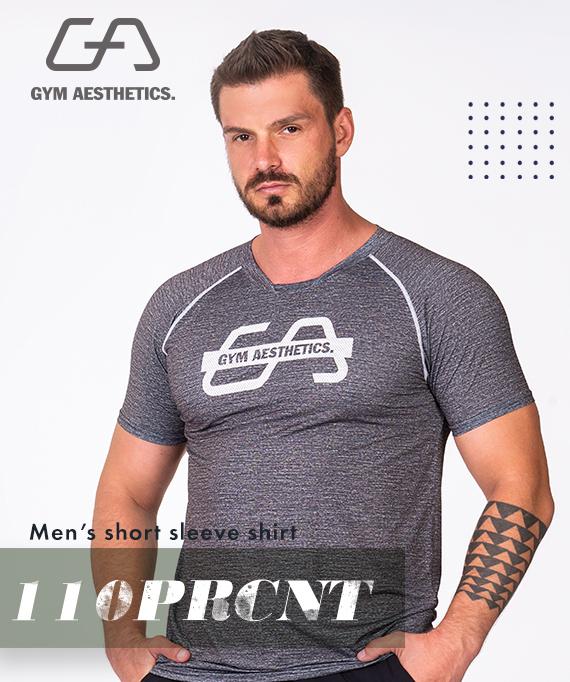 Essential Printed Mesh Loose-Fit T-Shirt for Men in Melange Aqua | Gym Aesthetics