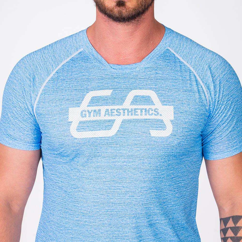 Essential Printed Mesh Loose-Fit T-Shirt for Men in Melange Blue | Gym Aesthetics