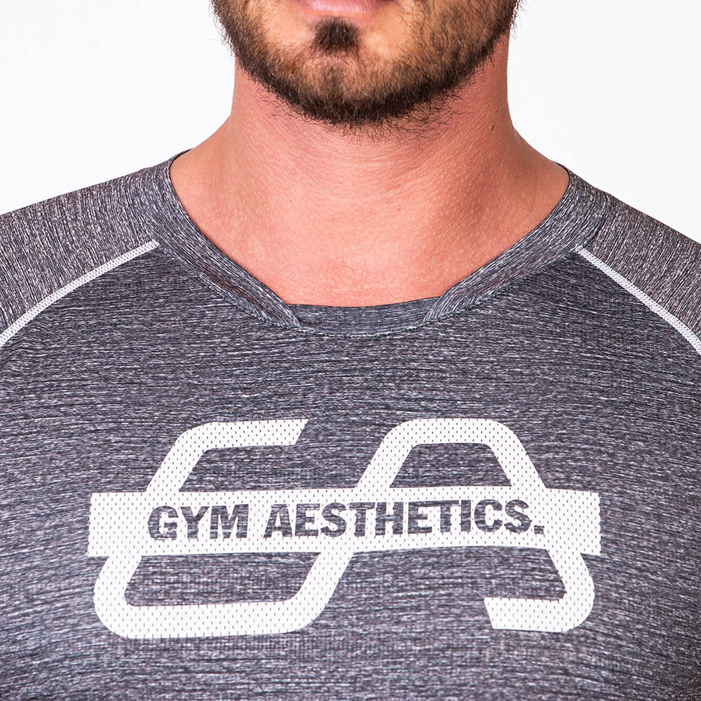 Essential Printed Mesh Loose-Fit T-Shirt for Men in Melange Charcoal | Gym Aesthetics