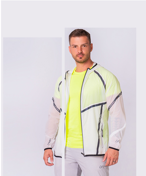 Function Transparency Jacket for Men in White | Gym Aesthetics