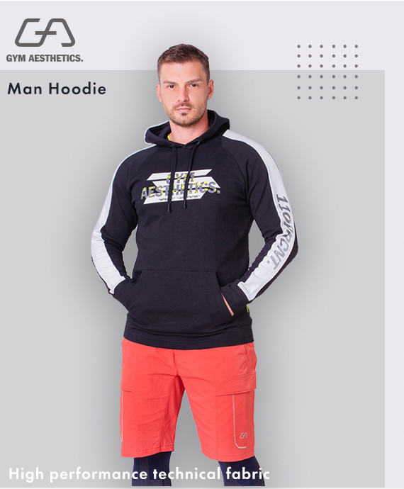 Function Color Blocking Hoodie for Men in Black | Gym Aesthetics