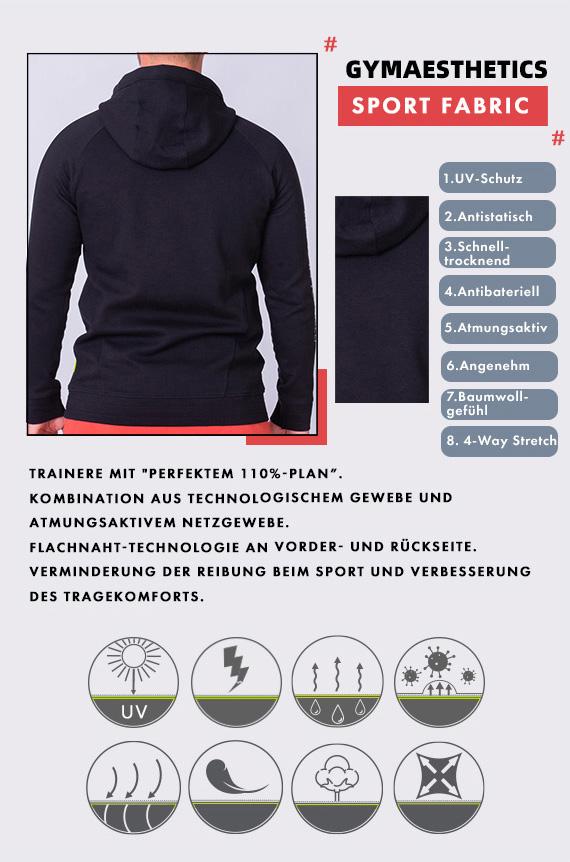 Funktion Farbblockierung Kapuzenpullover für Herren in Schwarz | Gym Aesthetics