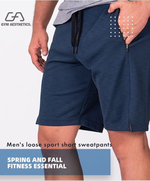 Essential Techno 9 inch Shorts for Men in Navy | Gym Aesthetics