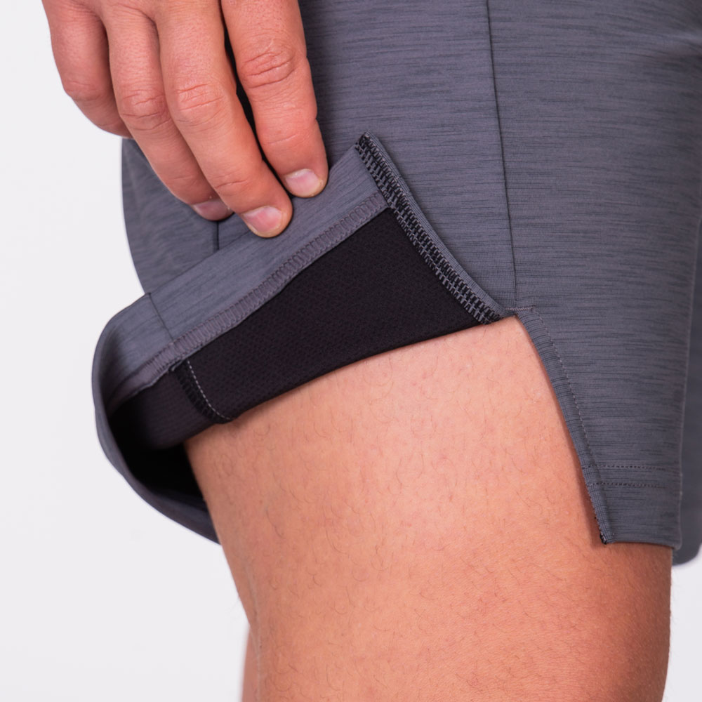Essential Techno 9 inch Shorts for Men in Melange Grey | Gym Aesthetics