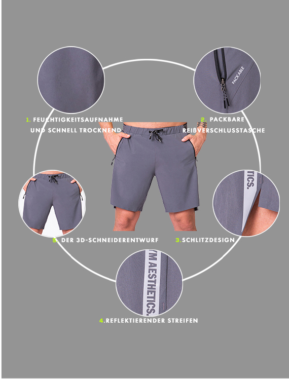Wesentlich 9 inch Shorts für Herren in Holzkohle | Gym Aesthetics
