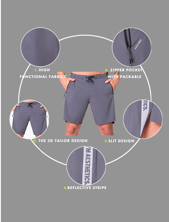 Essential 9 inch Shorts for Men in Light Grey | Gym Aesthetics