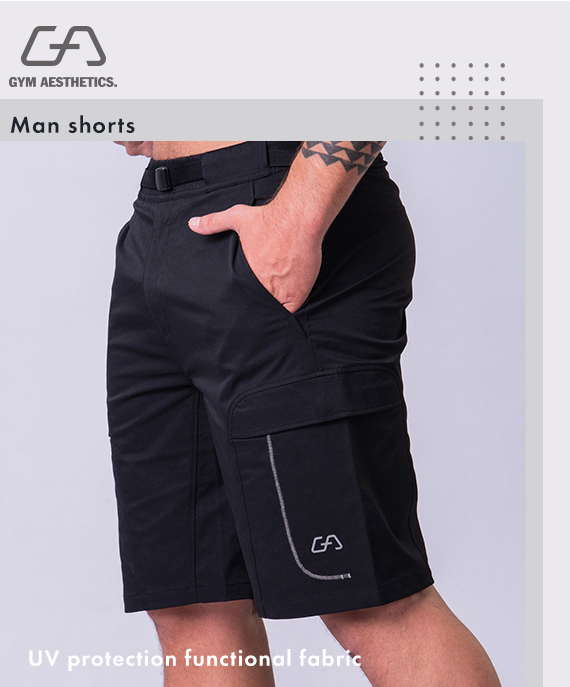 Function Cargo 9 inch Shorts for Men in Khaki | Gym Aesthetics