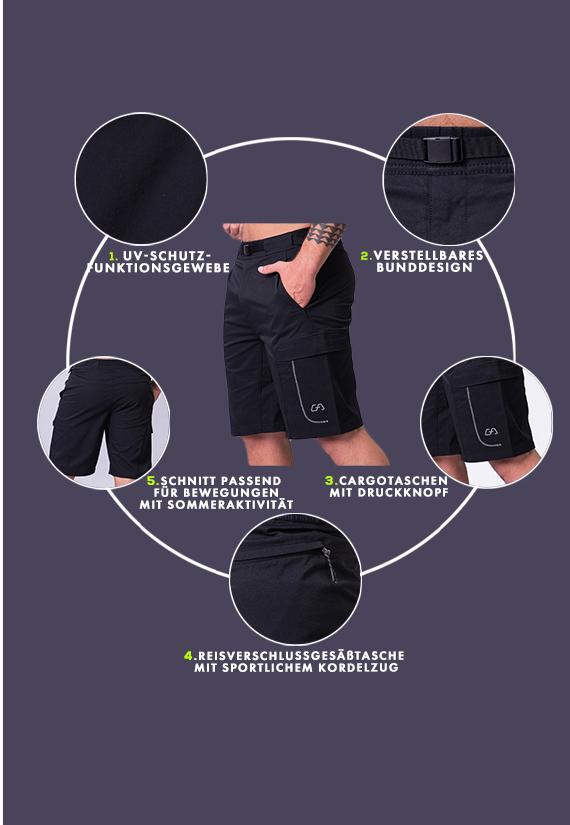 Funktion Cargo 9 inch Shorts für Herren in Schwarz | Gym Aesthetics