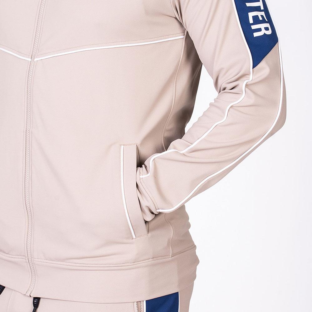 Functional Tracksuit Jacket for Men in Beige | Gym Aesthetics
