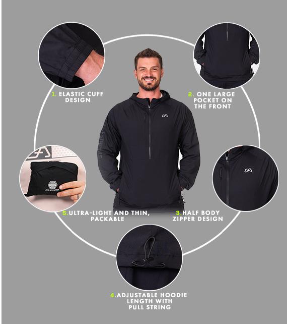 Functional Water Resistant Jacket for Men in Black | Gym Aesthetics