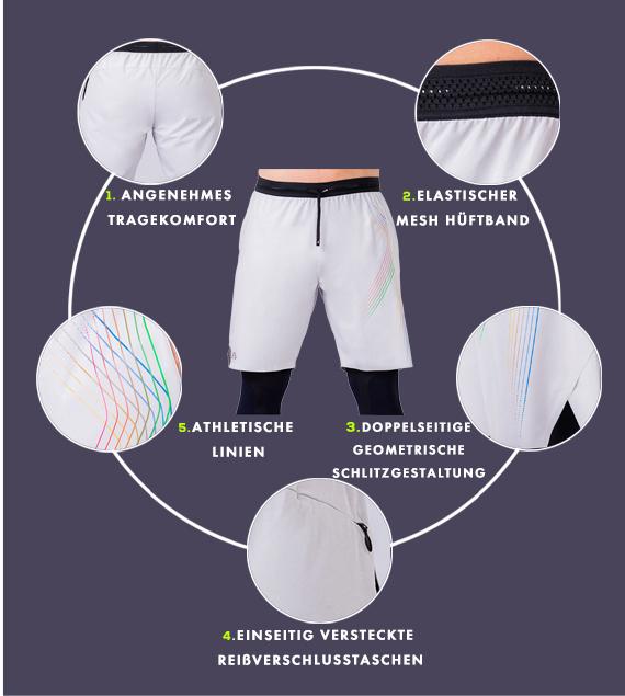 Wesentlich Warrior 9 inch Shorts für Herren in Hellgrau | Gym Aesthetics