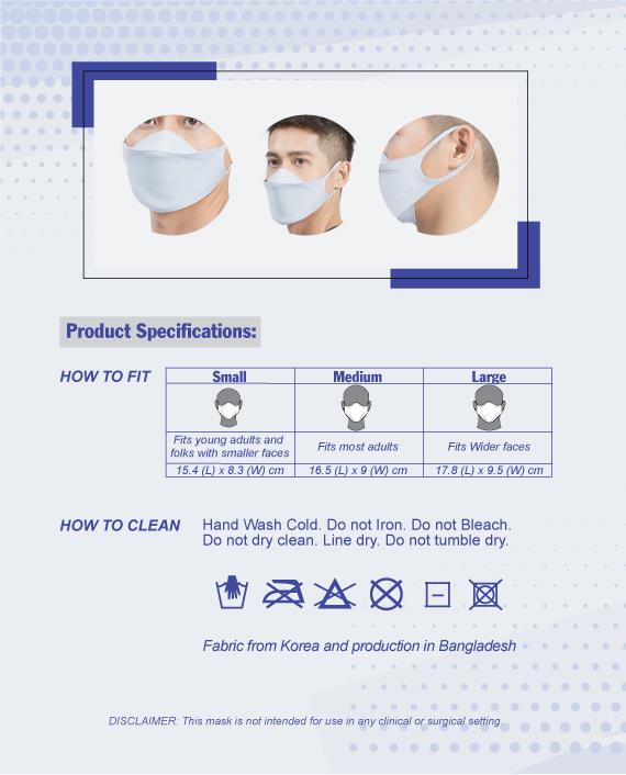 HiQPRO Reusable Mask - size chart