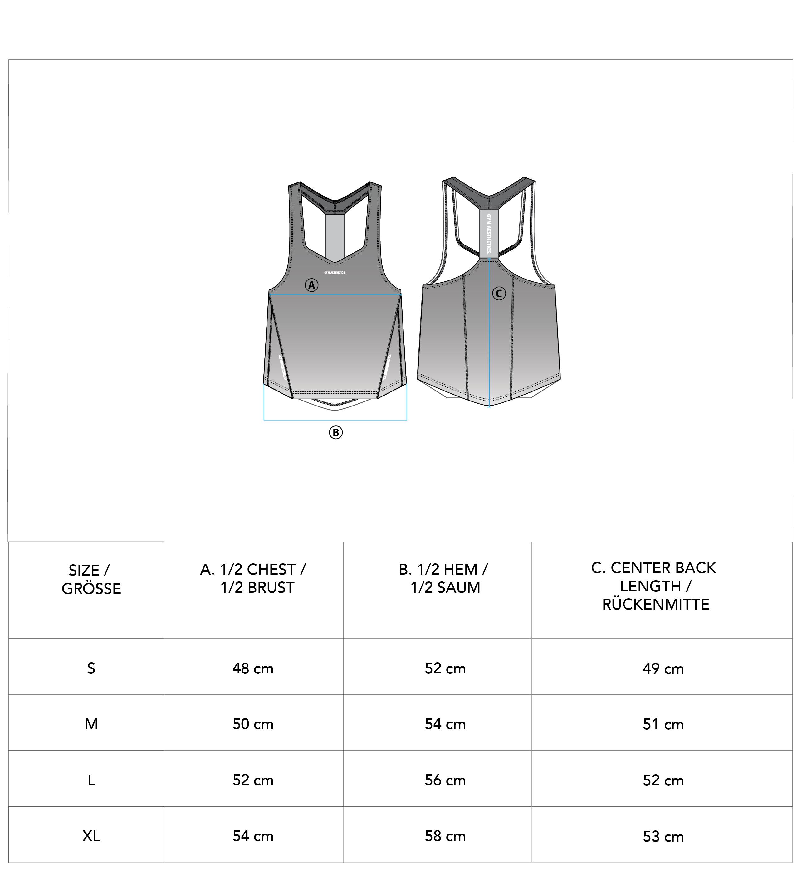 Essential gradient Stringer Y Back for Men - size chart